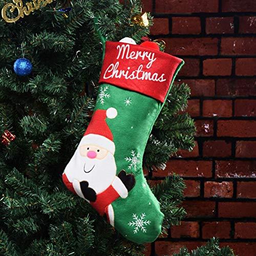 Weisy calze di natale, calze di natale ricamate borse appese decorazioni per alberi di natale borsa da regalo per regali di babbo natale con pupazzo di neve 45cm