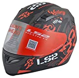 #10: LS2 Full Face Premium Helmet FF 391 OLYMPIC MATT BLACK RED WITH MERCURY VISOR 'L' SIZE