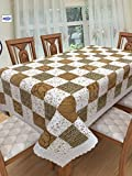 #5: Clasiko 6 Seater PVC Table Cover; White & Brown Checks With Flowers; Anti Slip; 60x90 Inches; 6 Seater