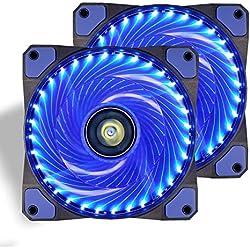 Ventola PC,CONISY 120 mm LED Ventilatore Ultra silenzioso di Raffreddamento per Computer Case (blu x2)
