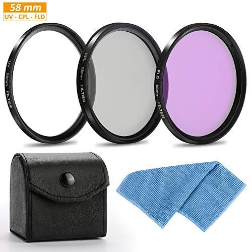 Lens Filter Set 58mm,Aiglam Filter Professioneller UV-, CPL-, FLD-Objektivfilter Zubehör-Kit(58mm) Eos Rebel T1i Kit