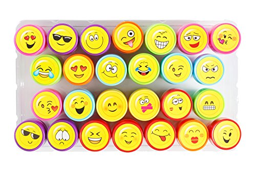 Moore-Kunst-26-Stck-selbst-Farbauftrag-Emoji-Kunststoff-Stempeln-mit-Multi-Color-Bright-Smiley-Emoji-Tinte-Briefmarken-DIY-Handwerk-fr-Kinder-Party-Geschenke