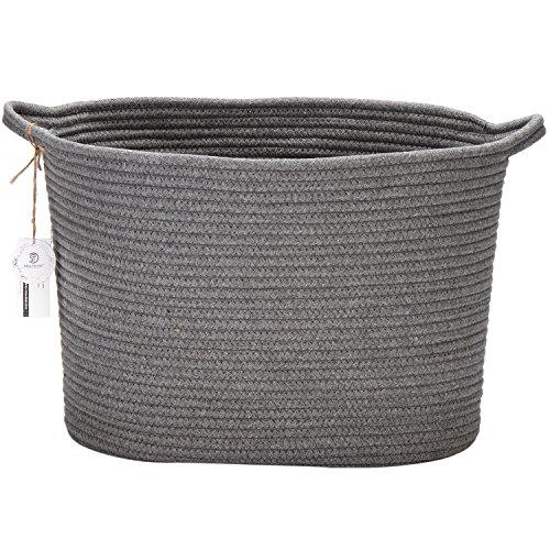 Sea team - cestino ovale con manici, in corda intrecciata di cotone naturale, dimensioni 41 cm x 33 cm, adatto come portaoggetti per la cameretta dei bambini grey
