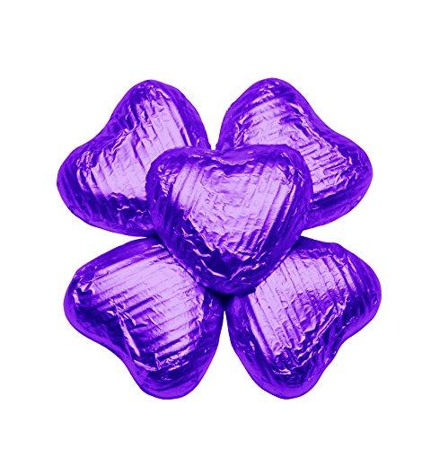 FLAIRELLE, Vollmilch Schoko-HERZEN in Folie, lila violett, zarte Schokoladenherzen, Hochzeit oder als Gastgeschenke, Give Aways, Valentinstag, Weihnachts-Schokolade, 50 Stück