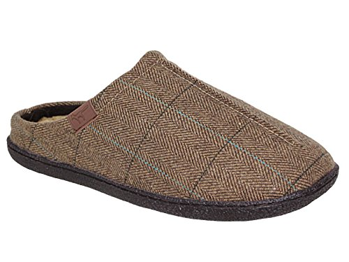 Mens Harrison Jo & Joe Brown Tweed Faux Fur Lined Slip On Mules Slippers Size 7-12 (UK 9)