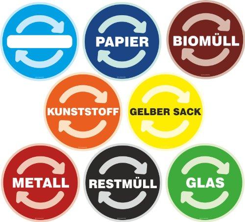 Aufkleber SET mit 8 Sorten / Mülltonne Abfall Recycling Wertstoffkennzeichnung 9 cm rund