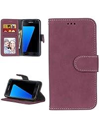 Funda Samsung Galaxy S7 Elegante Acabado Mate Case Libro Suave Piel PU Cuero Cover Plegable Carcasa Caso [Función de Soporte] Cierre Magnético Ranuras para Tarjetas y Billetera - Rosa Roja