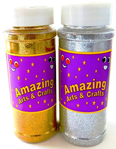 Oro e argento glitter shaker Jar Pack, 200g (100g ogni colore) by Amazing Arts and Crafts