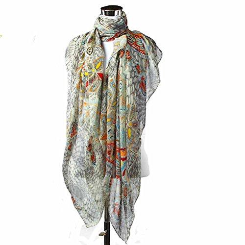 Nanxson(TM) foulards/ châles imprimés antisolaires en mousseline de soie pour les femmes WJ0056 Noir