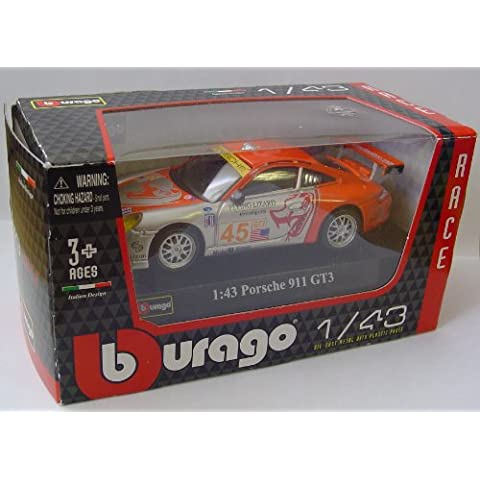 BBurago 1:43 Scala Porsche 911 GT3 Volante Lizard Motorsports Modellino Auto Da Corsa