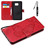Galaxy S6 Edge Plus Hülle, Embossed Schmetterling Brieftasche Schutzhülle Compatible für Samsung Galaxy S6 Edge Plus HandyHülle Flip Wallet Case Tasche Klapphülle Kartenfächer Magnetverschluss -Rot