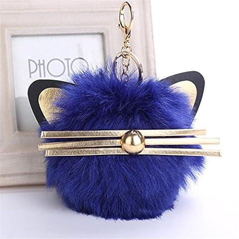 Artistic9(TM) Mignon oreilles de chat Porte-clés Pendentif Femme Porte-clés support de voiture Cartable Pompon Porte-clés, bleu, 12x12cm