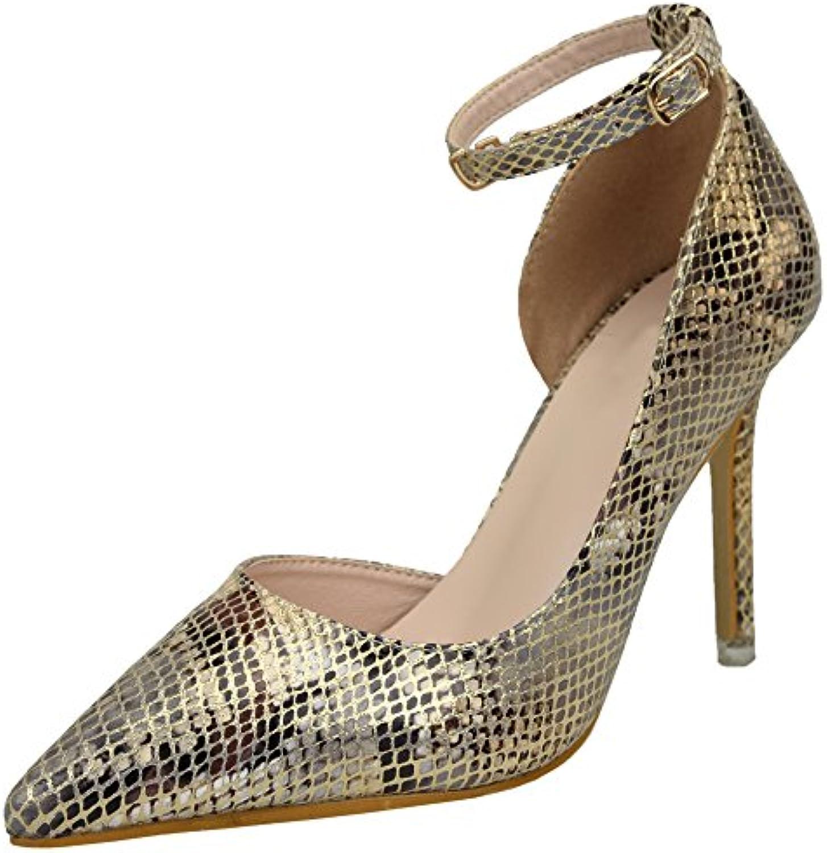 9a913519434d bigtree d'orsay peau de serpent stiletto stiletto stiletto chaussures femmes  cheville talon haut à chaussures b0756t528k parent rob e de cour | Nouveaux  ...