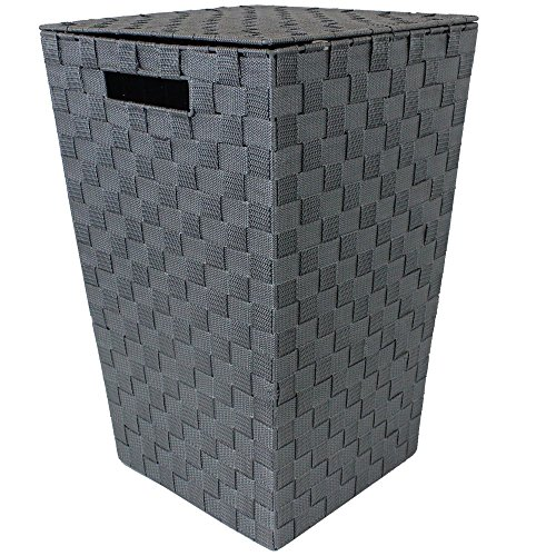 JVL Modern Tapered Laundry Basket with Inset Handles, Metal/Plastic, Grey