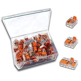 WAGO Klemme (100 Stück) Set Sortiment Serie Compact 221-412 | 221-413 | 221-415 in praktischer Klarsichtdose (100)