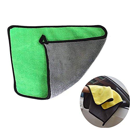 TJW Mikrofaser-Reinigungstuch, Extrem Dicker Auto Reinigung Handtuch Super Saugfähig Polieren und Trocknen Tuch Details Handtücher für Autos, Mikrofaser, Grün, 2 Pcs