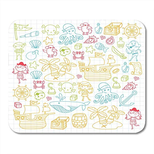 Mouse Pads Children Playing Pirates Boys and Girls Kindergarten School Preschool Halloween Party Treasure Island Mouse Pad for Notebooks,Desktop Computers Office Supplies