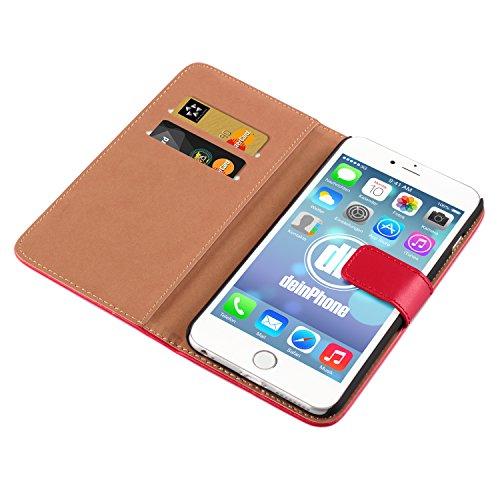 "deinPhone Apple iPhone 6 6S Plus (5.5"") KUNSTLEDER FLIP CASE Hülle Tasche Eulen Happy Family Kreditkartenfach Rot"