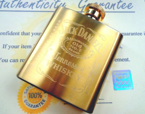 Price comparison product image NEW 24K GOLD PLATED 3OZ JACK DANIELS HIP DRINKING FLASK BREWINER 24CT IN GIFT BOX METAL COLLECTABLE XMAS GIFT