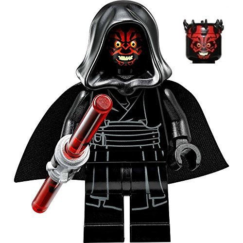 LEGO Star Wars Sith Minifigure - Darth Maul Evil Smile with Horns, Hood, and Lightsaber (75096) by LEGO