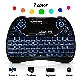 (7 farbige Hintergrundbeleuchtung) Mini Tastatur, Deutsches Tastatur-Layout (QWERTZ) Air Maus Keyboard mit Touchpad und Multimedia Tasten, 2.4Ghz USB wiederaufladbare Handheld Fernbedienung für PC, HTPC, X BOX, Android TV Box, Smart TV mit USB Schnittstelle