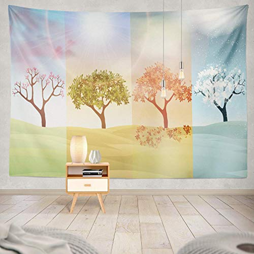 gthytjhv Tapisserie Decor Collection, Four Seasons Banners with Trees and Hills Season Tree Autumn Banner Bedroom Living Room Dorm Wall Hanging Tapestry Polyester & Polyester Blend -