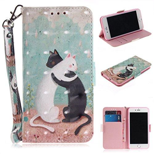 Cozy Hut iPhone 7 iPhone 8 Hülle, PU Leder Tasche mit Intern Karte Schlitz, Magnetic Closure mit Standfunktion und Handy Gürtel Schutzhülle für iPhone 7 iPhone 8 - Schwarz-Weiß-Katze