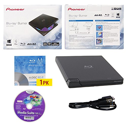 pioneer-bdr-xd05-6x-usb-30-portable-slim-bd-dvd-cd-burner-avec-1pk-gratuit-mdisc-bd-cyberlink-media-