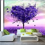 Weaeo 3D Zimmer Foto Tapete Benutzerdefinierte Wandbild Vliestapete Purple Herz Baum Malerei Sofa Tv Hintergrund Wand 3D Wallpaper-350X250Cm