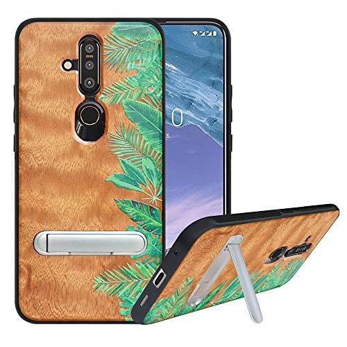 HHDY kompatibel mit Nokia X71 Hülle/Nokia 6.2 Hülle,Metallständer Kickstand Handyhülle,Schutzhülle aus Hart Holz Soft TPU Bumper,Anti Scratch Wood Cover Case Handyhülle für Nokia X71/6.2, Rainforest