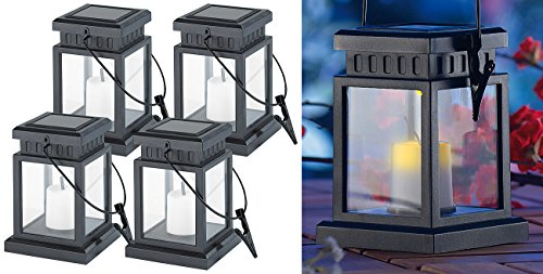 Lunartec Asia Laterne: 4er-Set Solar-LED-Laternen in asiatischem Design, zum Aufhängen, Akku (Solar LED Lampe)