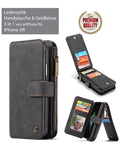 artPhone Leder-Optik Handytasche & Portemonnaie***3-in-1***für iPhone 6/6S/7/8/6/X Plus/6S Plus/7 Plus/8 Plus (iPhone XR, Schwarz)