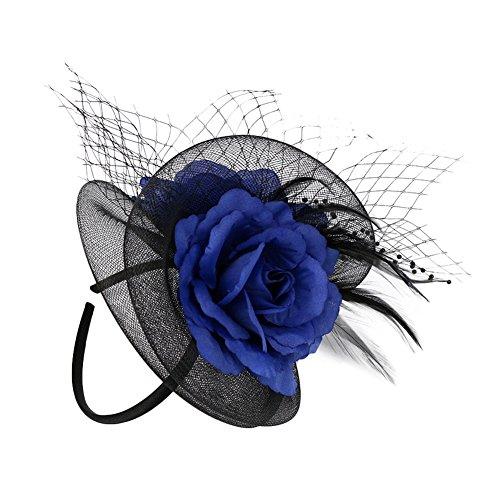 EXCHIC Damen Vintage Fascinator Cambric Mesh Haarklammer Cocktail Hut Party Kopfschmuck (Blau)
