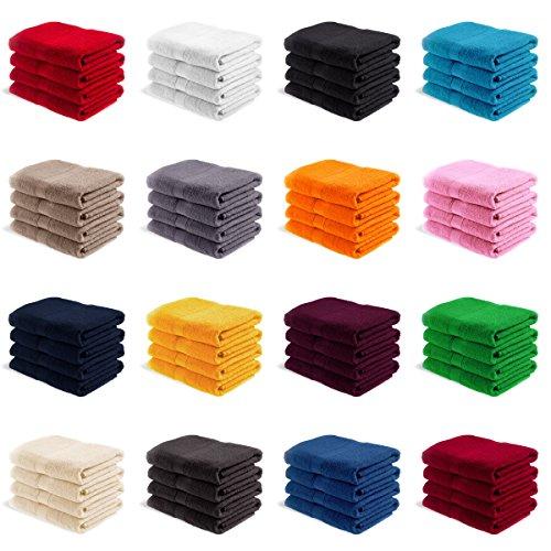 EllaTex 4er Pack Handtücher 50x100 cm 100% Baumwolle - 500 Gr/m², in Farbe: Gelb