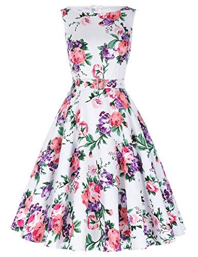 Yafex Damen 50er Jahre Kleid Vintage Kleid Petticoat Kleid ZYB000002 ...