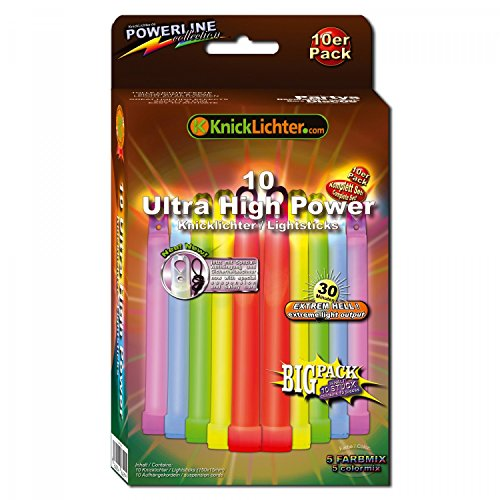 10 Ultra High Power Knicklichter / Leuchtstäbe - 5 Farben - 150x15mm