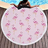 Asciugamano da spiaggia Flamingo, coperta rotonda morbida a prova di sabbia con nappatura