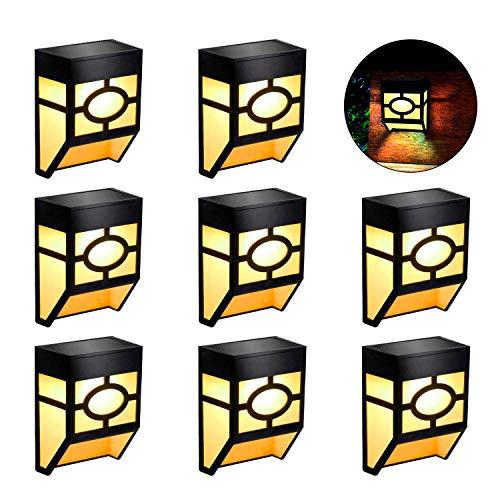 Draussen Solar Wandleuchten - LED Solar Wandlampe Europäisch Wasserdicht Solarbetrieben Gartenleuchten für Hof, Zaun, Garage, Patio Dekoration (Warmweiß, 8 Stücke)