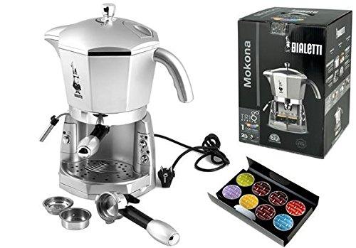 Bialetti Mokona Macchina da caffè espresso con sistema di funzionamento trivalente, colore: Argento