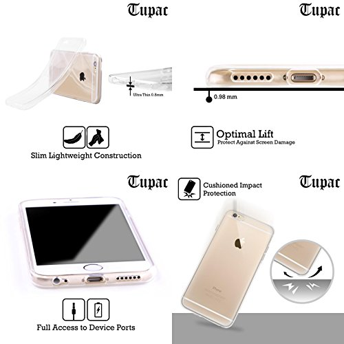 Offizielle Tupac Shakur Schwarz Weiss Kunst Soft Gel Hülle für Apple iPhone 6 / 6s Schwarz Weiss