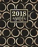 Agenda: 2018 Agenda Semainier : 19x23cm : Cercles dorés brillants sur noir