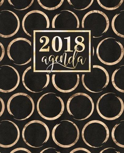 Agenda: 2018 Agenda Semainier : 19x23cm : Cercles dors brillants sur noir