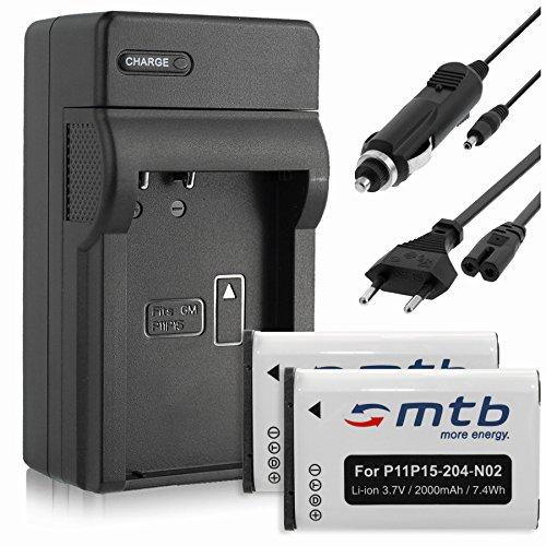 2 Batterie + Caricabatteria (Auto/Corrente) per Garmin VIRB, VIRB Elite/Monterra/Montana 600, 650.