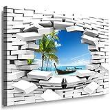 JULIA-ART 60wl7 XXXL - Format 150 - 100 cm Bild auf Leinwand Meer - Boot - Palme 3D Illusion Mauer Loch Wand Deko ideen - Natur, Landschaft Bilder