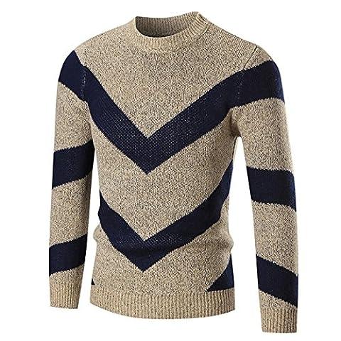 Herren Pullover FORH Winter langarm Sweatshirt Pullover Vintage Rundhalskragen Strickpullover Slim fit Strickwaren Sweater Outwear Warm weich Jumper Pullover Wolle Pulli tops (M, Khaki)