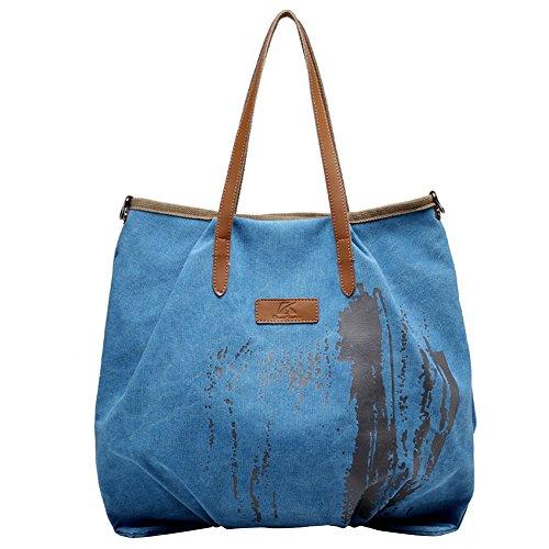 PB-SOAR Damen XXL Vintage Canvas Shopper Schultertasche Umhängetasche Handtasche Beuteltasche Einkaufstasche, 5 Farben auswählbar (Blau) Blau