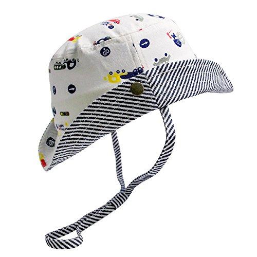 HOYMN Chapeau Bébé Garçon été Protection Bonnet en Coton Eté Plage Mer Piscine pour Bébé 46cm 9-12mois Blanc