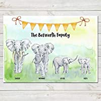 Elephant Family Print, Custom Quote, Personalised Wall Art Gift A4 or A3