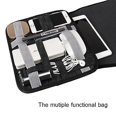 Yier multifonction/iPad Sac de rangement avec chargeur câble Organiseur de périphérique Compatible avec tablettes de 7à 25,4cm (Noir)