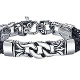 Coolman Herren Leder Armband Schwarzes u. Silbernes Stulpe Armband Wristband für Männer(Mit hochwertiger Schmuck schatulle) -